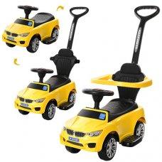 Каталка-толокар BMW 2в1 с бампером и родительской ручкой, Bambi M 3503B (MP3)-6 желтый