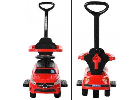 Каталка-толокар Mercedes 2в1 с родительской ручкой Bambi M 3503C-3 красный