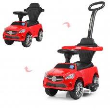 Каталка-толокар Mercedes 2в1 с бампером и родительской ручкой, Bambi M 3503C (MP3)-3 красный
