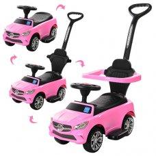 Каталка-толокар Mercedes 2в1 с бампером и родительской ручкой, Bambi M 3503C (MP3)-8 розовый