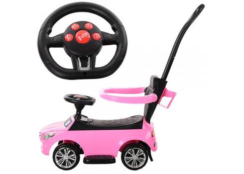 Каталка-толокар Mercedes 2в1 с родительской ручкой Bambi M 3503C-8 розовый