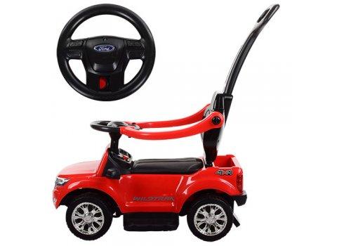 Каталка-толокар 2в1 (электромобиль) с родительской ручкой, M 3575EL-3 красный