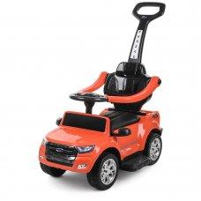 Каталка-толокар 2в1 (электромобиль) с родительской ручкой, M 3575EL-7 оранжевый