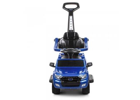 Каталка-толокар 2в1 (электромобиль) с родительской ручкой и автопокраской, M 3575ELS-4 синий