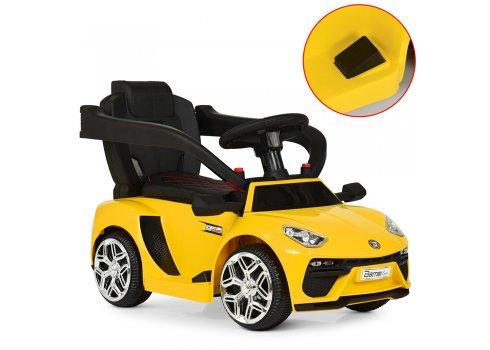 Электромобиль-толокар с родительской ручкой в стиле Lamborghini Bamb M 3591L-6 желтый