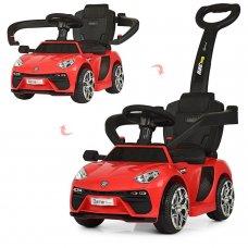 Электромобиль-толокар с кожаным сиденьем и родительской ручкой Bambi M 3591LS-3 красный