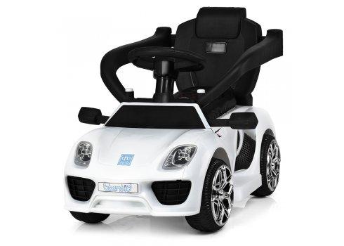 Электромобиль-толокар Porsche с кожаным сиденьем, Bambi M 3592L-1 белый