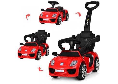Электромобиль-толокар Porsche с кожаным сиденьем, Bambi M 3592L-3 красный