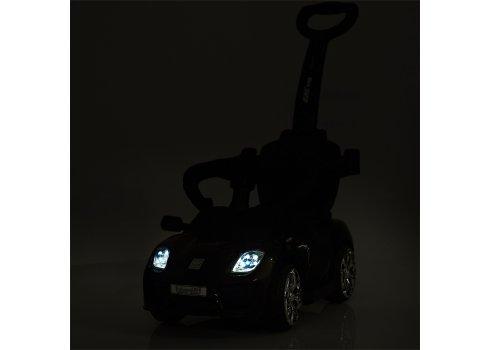 Электромобиль-толокар Porsche с кожаным сиденьем, Bambi M 3592L-2 черный