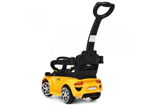 Электромобиль-толокар Porsche с кожаным сиденьем, Bambi M 3592L-6 желтый