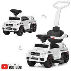 Двухместный электромобиль-толокар Mercedes 2в1 на резиновых колесах, M 3853EL-1 белый