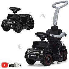 Двухместный электромобиль-толокар Mercedes 2в1 на резиновых колесах, M 3853EL-2 черный