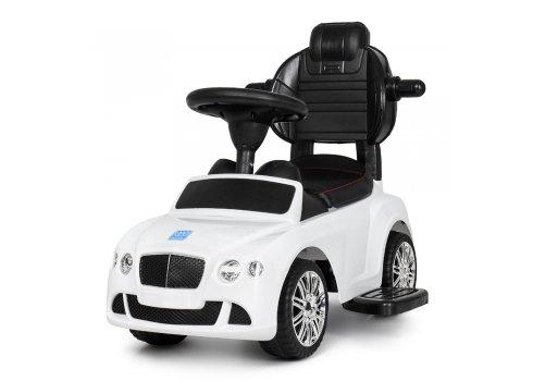 Детская машинка Каталка-толокар Bentley с кожаным сиденьем и ручкой, M 3901L-1 белый