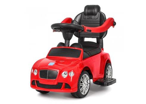 Детская машинка Каталка-толокар Bentley с кожаным сиденьем и ручкой, M 3901L-3 красный