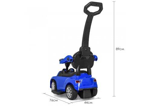Детская машинка Каталка-толокар Bentley с кожаным сиденьем и ручкой, M 3901L-4 синий