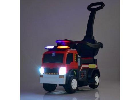 Толокар-электромобиль 3в1 Пожарная машина M 4166L-3 с родительской ручкой, красный