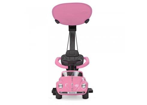 Детская машина 2в1 толокар-электромобиль Volkswagen Beetle JQ618L-8 розовый