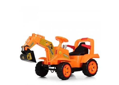 Детский электромобиль трактор-экскаватор BAMBI M 4142L-7 оранжевый