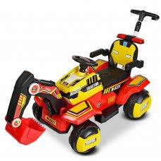 Детский трактор - экскаватор на аккумуляторе BAMBI M 4321LR-3-6 красно-желтый