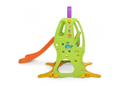 Детская горка-качель с баскетбольным кольцом HF-H012