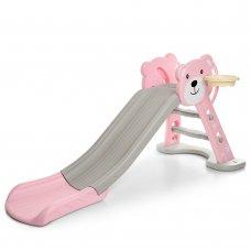 Детская горка Мишка, HF-H008-8 розово-бежевый