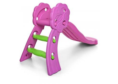 Детская пластиковая горка QX-1803, розовая с зеленым