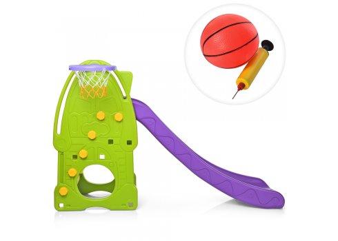 Детская горка с баскетбольным кольцом, YG2016-8-1 зеленый с фиолетовым