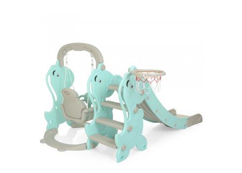 Детский игровой комплекс 2в1 горка-качель Дино Bambi YG2020-2-4 серо-мятный