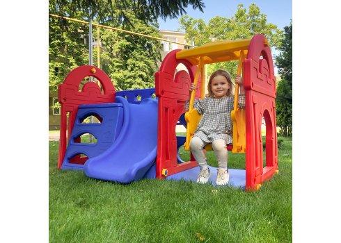 Детская игровой комплекс горка с качелями и баскетбольным кольцом Little castle M 5402-3-4