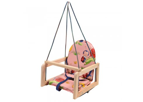 Детские деревянные подвесные качели на веревках, V 701-1 Божья коровка розовая