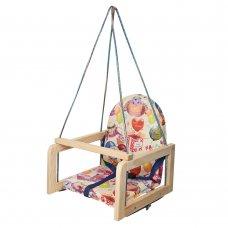 Детские деревянные подвесные качели на веревках, V 701-11 Happy Birthday