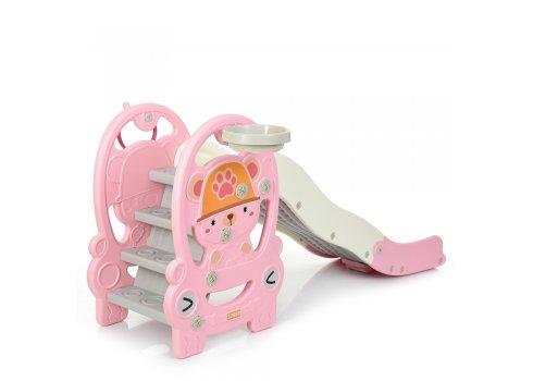 Детская пластиковая горка Медвежонок BAMBI WM19094-8 розовый