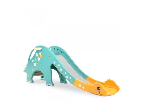 Детская пластиковая горка для катания Дино Bambi DINO-4 желто-мятный