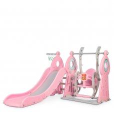 Детский игровой комплекс 2в1 горка-качель Bambi WM19011-8 серо-розовая
