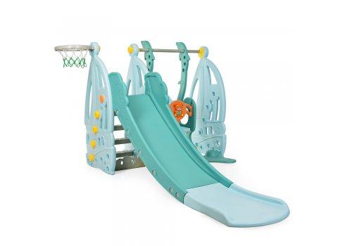Детский игровой комплекс 2в1 горка-качель Bambi WM19016-4 голубой-бирюза-оранж