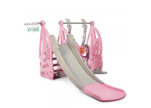 Детский игровой комплекс 2в1 горка-качель Bambi WM19016-8 серо-розовый