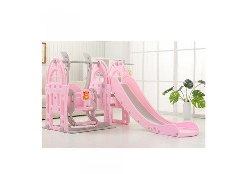 Детский игровой комплекс 2в1 горка-качель с музыкой Bambi WM19017-8 серо-розовый