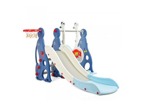 Детский игровой комплекс 2в1 горка-качель Bambi WM19020-4 бело-голубой