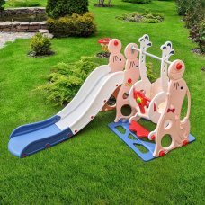 Детский игровой комплекс 2в1 горка-качель Bambi WM19020-8 персик-синий