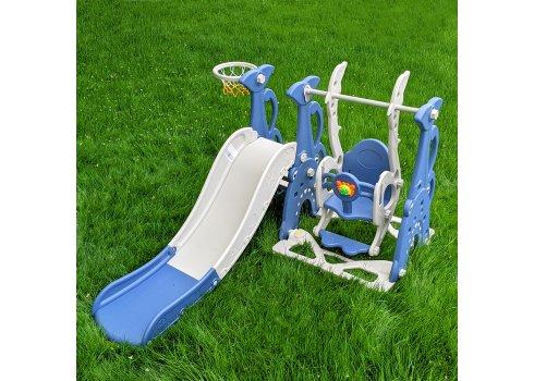 Детский игровой комплекс 2в1 горка-качалка с музыкой Bambi WM19083A-4 синий