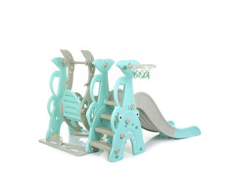 Детский игровой комплекс 2в1 горка-качалка с музыкой Bambi WM19083A-5 бирюза