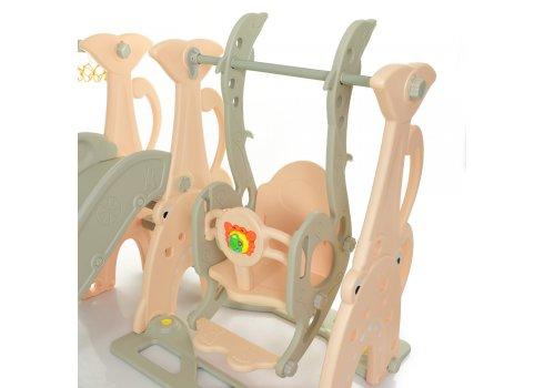 Детский игровой комплекс 2в1 горка-качалка с музыкой Bambi WM19083A-8 персик