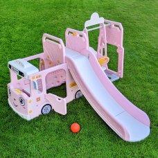 Детский игровой комплекс 2в1 горка-качели Bambi WM19090-8 розовый