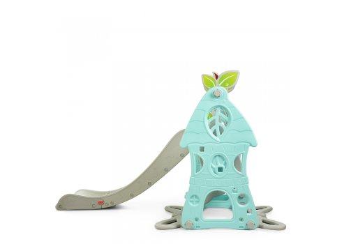 Детский игровой комплекс 2в1 горка-качель с музыкой Bambi SLW-G-6-5 серо-мятный