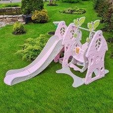 Детский игровой комплекс 2в1 горка-качель с музыкой Bambi SLW-G-6-8 серо-розовый