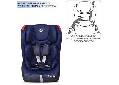 Автокресло для детей возрастом от 9 мес до 12 лет с системой isofit группа 1/2/3 (9-36кг), El Camino Posh ME 1018-4 синий