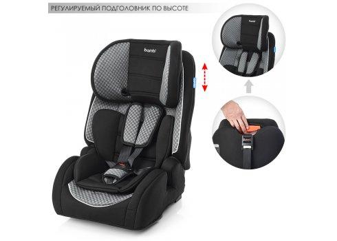 Автокресло для детей возрастом 1-12 лет с системой ISOFIX, группа 1/2/3 (9-36кг), Bambi M 2783-4 черно-серый