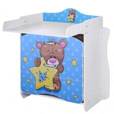 Комод-пеленальный столик Vivast 2в1, MV-910-8 Мишка голубой