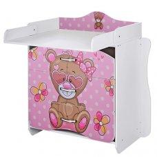 Комод-пеленальный столик Vivast 2в1, MV-910-9 Мишка розовый