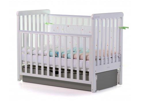 Кровать детская CARRELLO Alba Бело-Графитовая + короб маятникового механизма